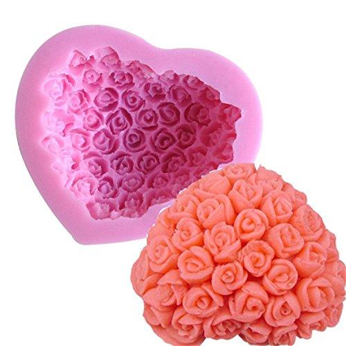 3D Herzform mit Rosen zum Backen   Silikon Backform Herz mit Rose   Backform blühende Pflanze in 3D mit Herzform