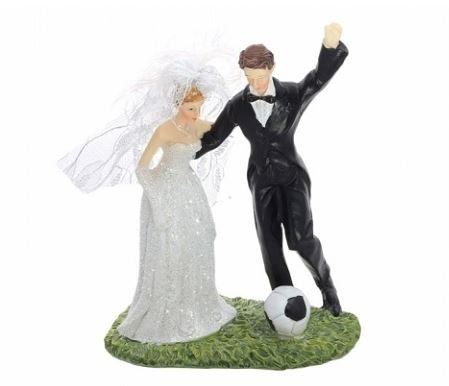 Tortenfigur mit Fussball | Hochzeitsppar mit Fussball | Fußball Hochzeitspaar | Brautpaar mit Fußball